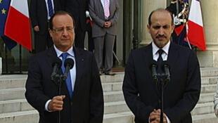 François Hollande et Ahmad Jarba, le 29 août à l'Élysée.