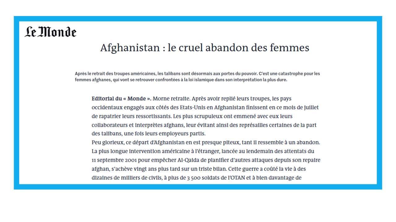 L'avancée éclair des Taliban afghans alarme sur le sort des Afghanes