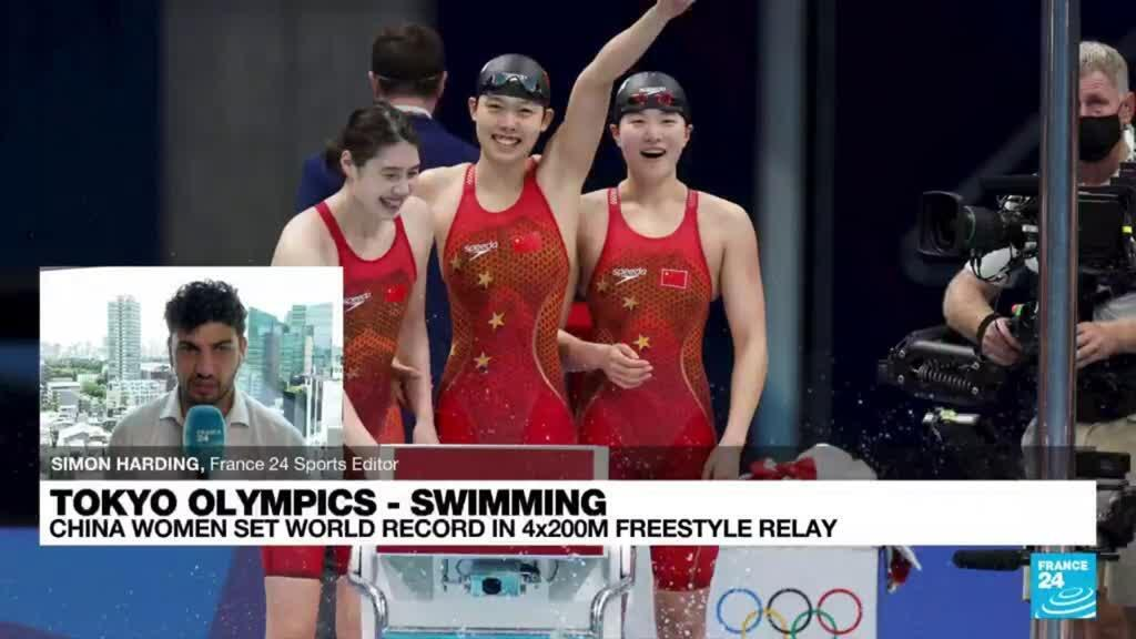 2021-07-29 10:12 China win women's Olympic 4x200m freestyle in world record time