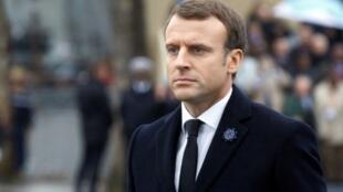 الرئيس الفرنسي إيمانويل ماكرون في باريس 11 تشرين الثاني/نوفمبر 2017