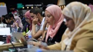 """مشاركون في """"هاكاثون الحج"""" في جدة بالسعودية. 1 آب/أغسطس 2018."""