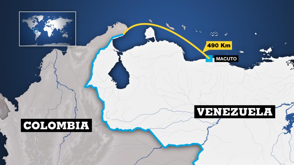 La Cancillería de Colombia desestima las versiones de Venezuela de que una incursión militar salió de la frontera hasta las costas venezolanas de Macuto diciendo que hay 490 km de distancia.