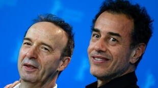 L'acteur Roberto Benigni (gauche) et le réalisateur  Matteo Garrone le 23 février 2020 à Berlin