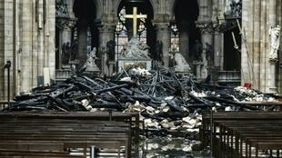 The cathedral spire and much of the wooden roof was destroyed in the blaze