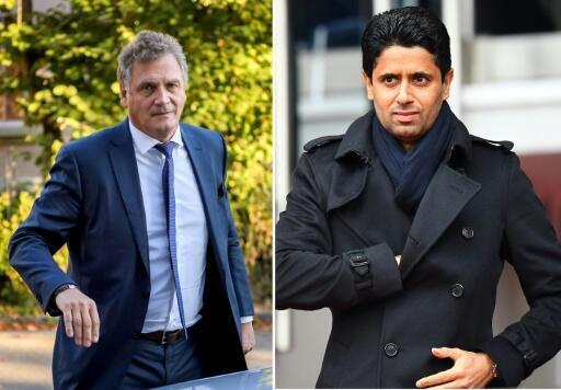 Photo montage of former FIFA secretary general Jérôme Valcke (left) and the president of Paris SG Nasser Al-Khelaïfi.
