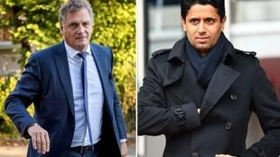 Photo montage of former FIFA secretary general Jérôme Valcke (left) and the president of Paris SG Nasser Al-Khelaïfi.