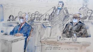 Edouard Balladur (G) et François Léotard (D) devant la Cour de justice de la République, le 19 janvier 2021 à Paris