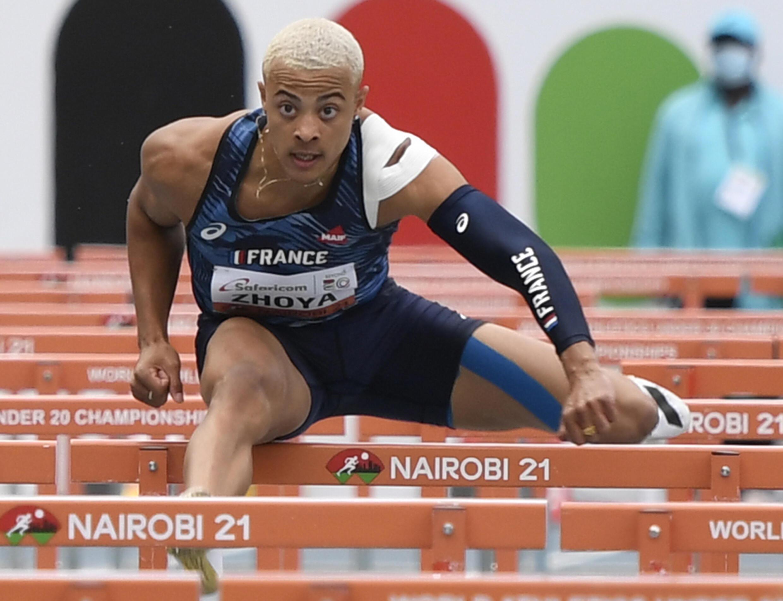 France's Sahsa Zhoya, winner of the 110-meter hurdles final at the U-20 World Championships, on August 20, 2021 in Nairobi.