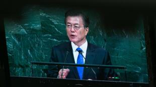 Le président sud-coréen Moon Jae-in à la tribune de l'ONU en septembre 2017.