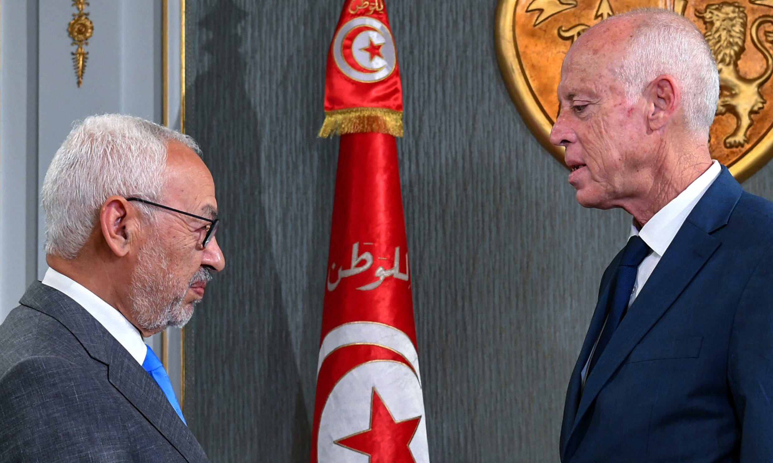Tunisia's President Kais Saied (R) receives Ennahdha leader and parliament speaker Rached Ghannouchi at the presidential palace in this file picture taken on November 15, 2019