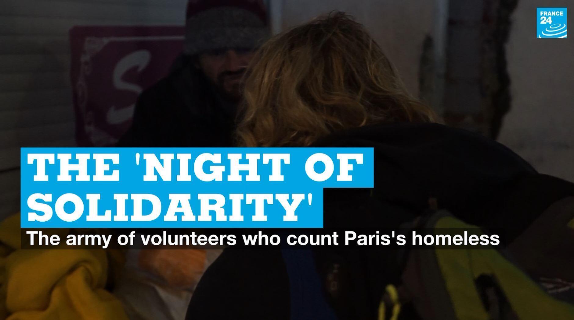 Volunteers take part in the Night of Solidarity in Paris on January 30, 2020.