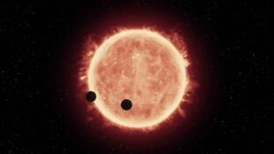 لوحة تخيلية لكوكبين شبيهين بالأرض