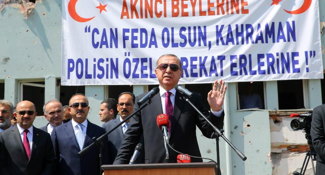 Le 29 Juillet 2016, le président turc Recep Tayyip Erdogan, s'exprime au siège du Département des opérations spéciales de la police à Ankara.