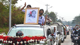 Thousands lined the route of the funeral procession to pay tribute to Mya Thwate Thwate Khaing in Myanmar's capital