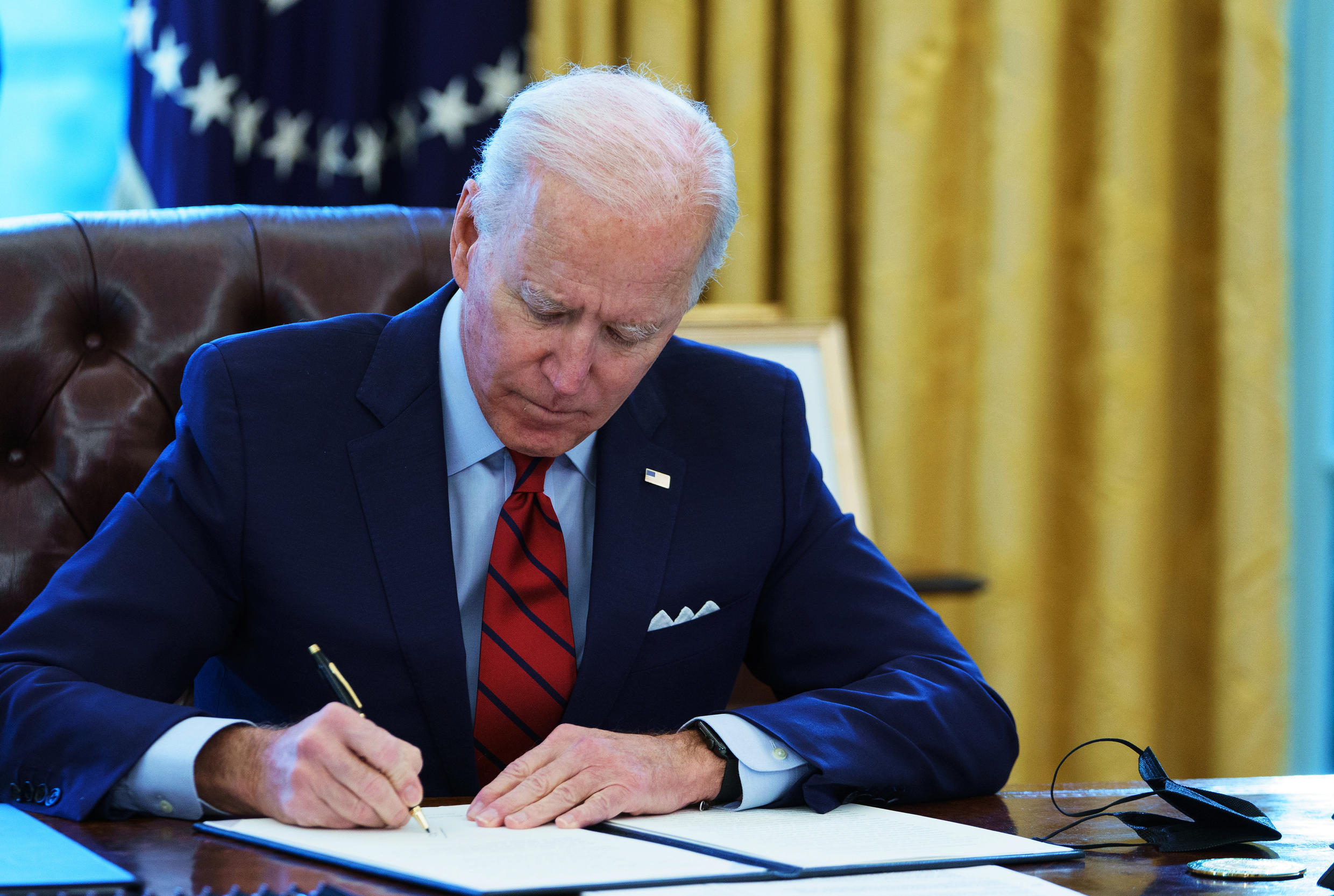 FILE - US President Joe Biden, pictured here in January 2021, will sign a series of executive orders aimed at reviewing the US immigration process, marking a return to a more inclusive policy.