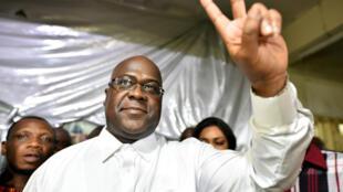 Felix Tshisekedi, líder del principal partido de oposición, luego del anuncio de los resultados preliminares que lo proclamaron como virtual ganador de las elecciones el 10 de enero de 2019 en Kinshasa, República Democrática del Congo.