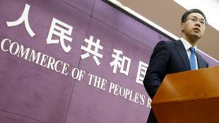 China responderá contundentemente a las medidas de Estados Unidos. Declaró el portavoz del Ministerio de Comercio de China, Gao Feng, durante una conferencia de prensa en Beijing, China. Abril 6 de 2018.