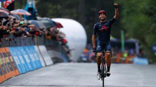 Team Ineos rider Filippo Ganna celebrates his second stage win in the Giro d'Italia.