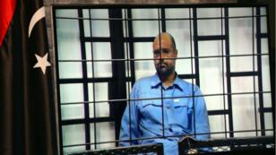 Seïf al-Islam Kadhafi interrogé lors d'un procès, le 22 juin 2014.