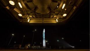 La fusée Delta II sur la base Vandenberg de l'US Air Force en Californie avant son lancement, le 15 septembre 2018.
