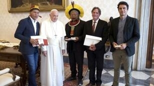 Pope Francis met Brazil's indigenous chief Raoni Metuktire (centre) and other indigenous leaders Monday