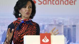 La presidenta del Santander, Ana Botín, presenta los resultados del banco el 29 de enero de 2020 en Boadilla del Monte, a las afueras de Madrid
