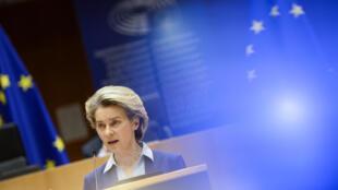 Ursula von der Leyen, présidente de l'exécutif européen, la 10 février 2021 à Bruxelles