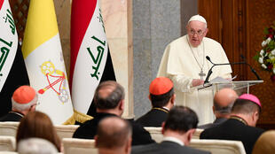 Pope Francis gives a speech at the Presidential Palace in Baghdad, Iraq on March 5, 2021.