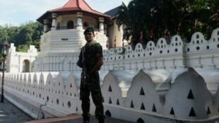 """عنصر من """"قوة التدخل الخاصة"""" السريلانكي أمام معبد بوذي في كاندي في 6 كانون الثاني/يناير 2016"""