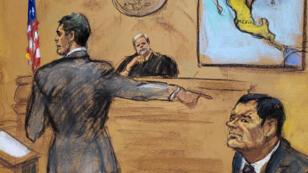 """Reproducción fotográfica de un dibujo realizado por la artista Jane Rosenberg donde aparece ell Fisal de Estados Unidos, , mientras presenta su acusación frente al juez y el narcotraficante mexicano Joaquín """"El Chapo"""" Guzmán, durante el primer día del juicio en su contra, en el tribunal del Distrito Sur en Brooklyn, en Nueva York (EE. UU.), el 13 de noviembre de 2018."""