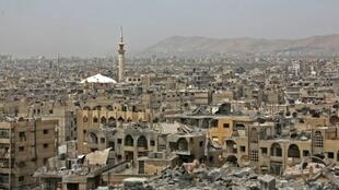 Una vista del distrito de Duma, Damasco, 17 de abril de 2018.