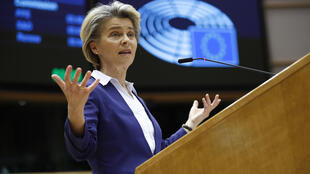 European Commission President Ursula von der Leyen addresses European lawmakers in Brussels, Belgium, on January 20, 2021. Von Der Leyen was one of many world leaders who welcomed Joe Biden's presidency.