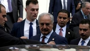 Khalifa Haftar gets into a car after a meeting with Greek Foreign Minister Nikos Dendias at the Foreign Ministry in Athens, Greece, January 17, 2020. REUTERS