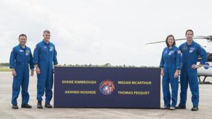 De izq. a der., Akihiko Hoshide, Shane Kimbrough, Megan McArthur y Thomas Pesquet en una imagen difundida por la NASA