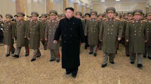 North Korean leader Kim Jong-Un (C) on December 24, 2014