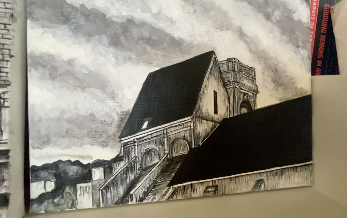 A painting by Andrea Hazen of the view from the Monoprix parking lot in Meudon, France.