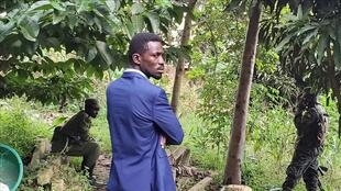 Bobi Wine in his compound