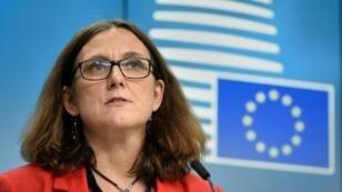 مفوضة الاتحاد الأوروبي للتجارة سيسيليا مالمستروم في بروكسل، 22 أيار/مايو 2018