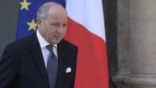 Laurent Fabius au palais de l'Élysée, le 8 avril 2015.