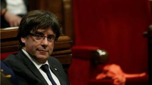 El presidente de la Generalitat, Carles Puigdemont, pronunció un discurso en Barcelona, el 26 de octubre de 2017.