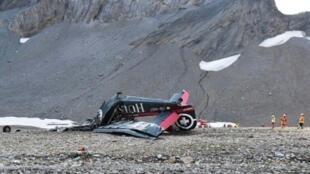طائرة عسكرية قديمة تحطمت في الجبال السويسرية. 04 آب/أغسطس 2018.