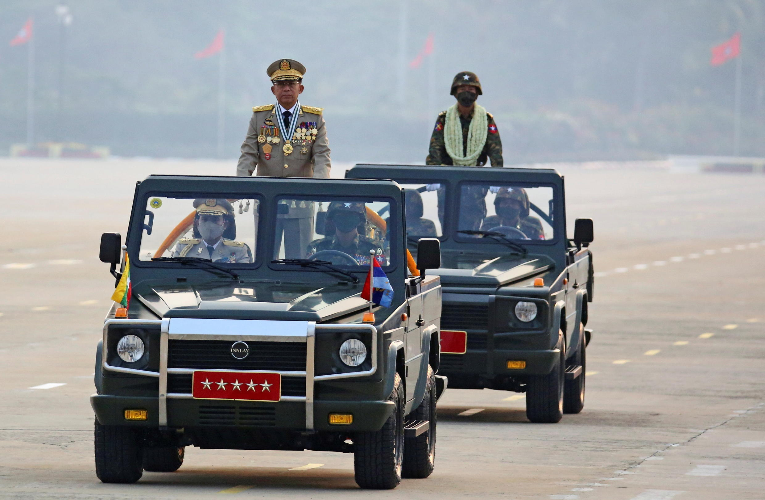 The leader of the Burmese military junta, General Min Aung Hlaing during the parade.
