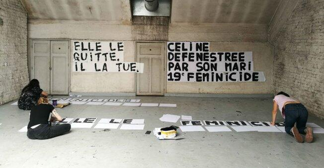 "At the former convent turned art collective Jardin Denfert, women gather every afternoon to make new posters. At left: ""She left him. He killed her."" At right, ""Céline, defenestrated by her husband. 19th femicide""."