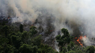 Vista aérea de un tramo de la selva amazónica quemándose mientras los taladores y granjeros trabajan cerca de la ciudad de Novo Progresso, estado de Pará, Brasil, 23 de septiembre de 2013.
