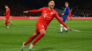 Bayern Munich's Serge Gnabry celebrates after scoring a brace at Stamford Bridge.