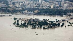 Karun River with its banks burst in Ahvaz, the capital of Iran's southwestern province of Khuzestan which like much of the country has been badly hit by flooding