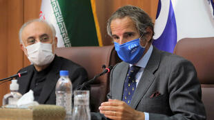 International Atomic Energy Agency Director General Rafael Grossi (R) speaks during a press conference with Iranian Atomic Energy Organization chief Ali-Akbar Salehi in Tehran, Iran on August 25, 2020.