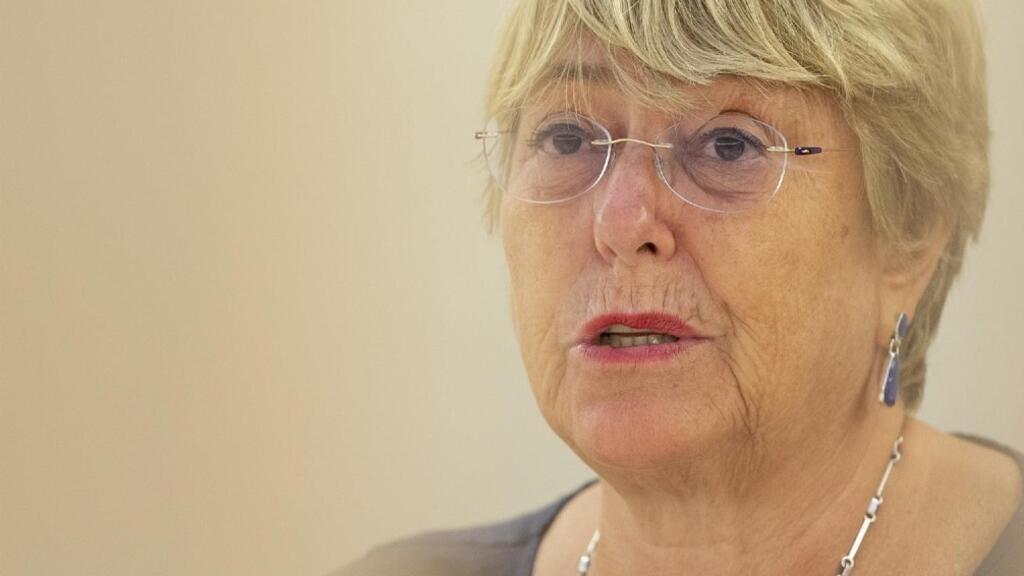 La Alta Comisionada de las Naciones Unidas para los Derechos Humanos, la chilena Michelle Bachelet, aborda su declaración, durante la 48 ° sesión del Consejo de Derechos Humanos, en la sede europea de las Naciones Unidas, en Ginebra, Suiza, el 13 de septiembre de 2021.