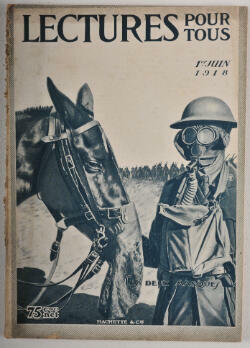 La couverture d'un livre datant du 1er juin 1918 et montrant un soldat et son cheval portant un masque à gaz