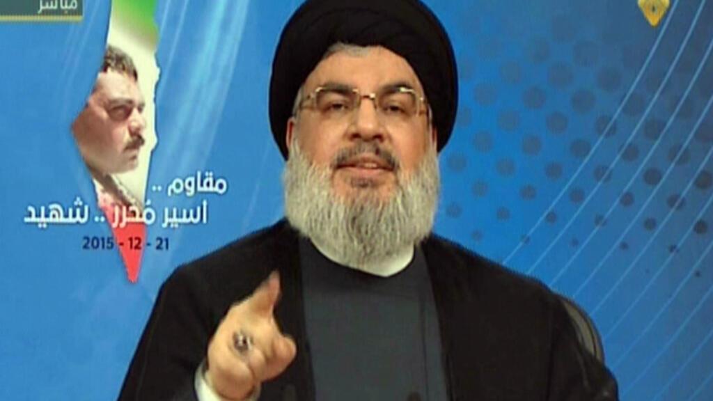 Hassan Nasrallah lors de son discours diffusé sur Al-Manar, le 21 décembre 2015.